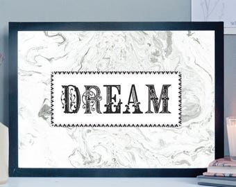 Dream Print: Decorative Alphabet Print, Victoriana Inspired Art, Art Print, Typography Art, Marble Art, Motivation Art, Bedroom Decor