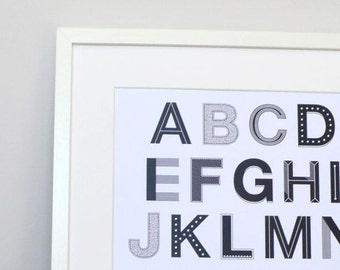 ABC     Monochrome     ABC Wall Art     ABC Nursery Print     Alphabet Print