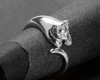 b6f39cf6a1 Sterling Silver Adjustable Cat Ring