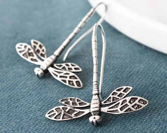 Sterling Silver Dragonfly earrings Graduation gift Bridal jewelry dragonfly Charm earrings Dolly the Dragonfly earrings Gift for mom.