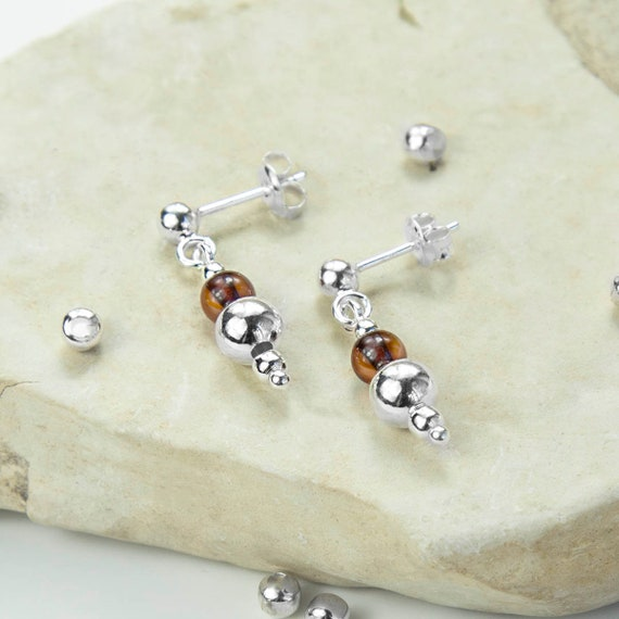 18c28c868 Sterling Silver Delicate Amber Stud Drop Earrings | Etsy