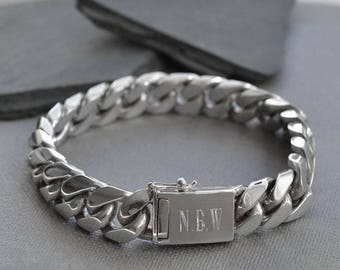 Sterling Silver Heavy Curb Bracelet