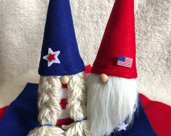 Patriotic Gnome Couple Boy Gnome Girl Gnome 4th of July Decor Scandinavian Gnomes Nisse Tomte Independence Day
