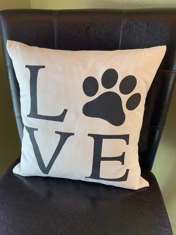 Love Paw Print Dog Cat Love Quote Pillow Handmade Decorative Etsy