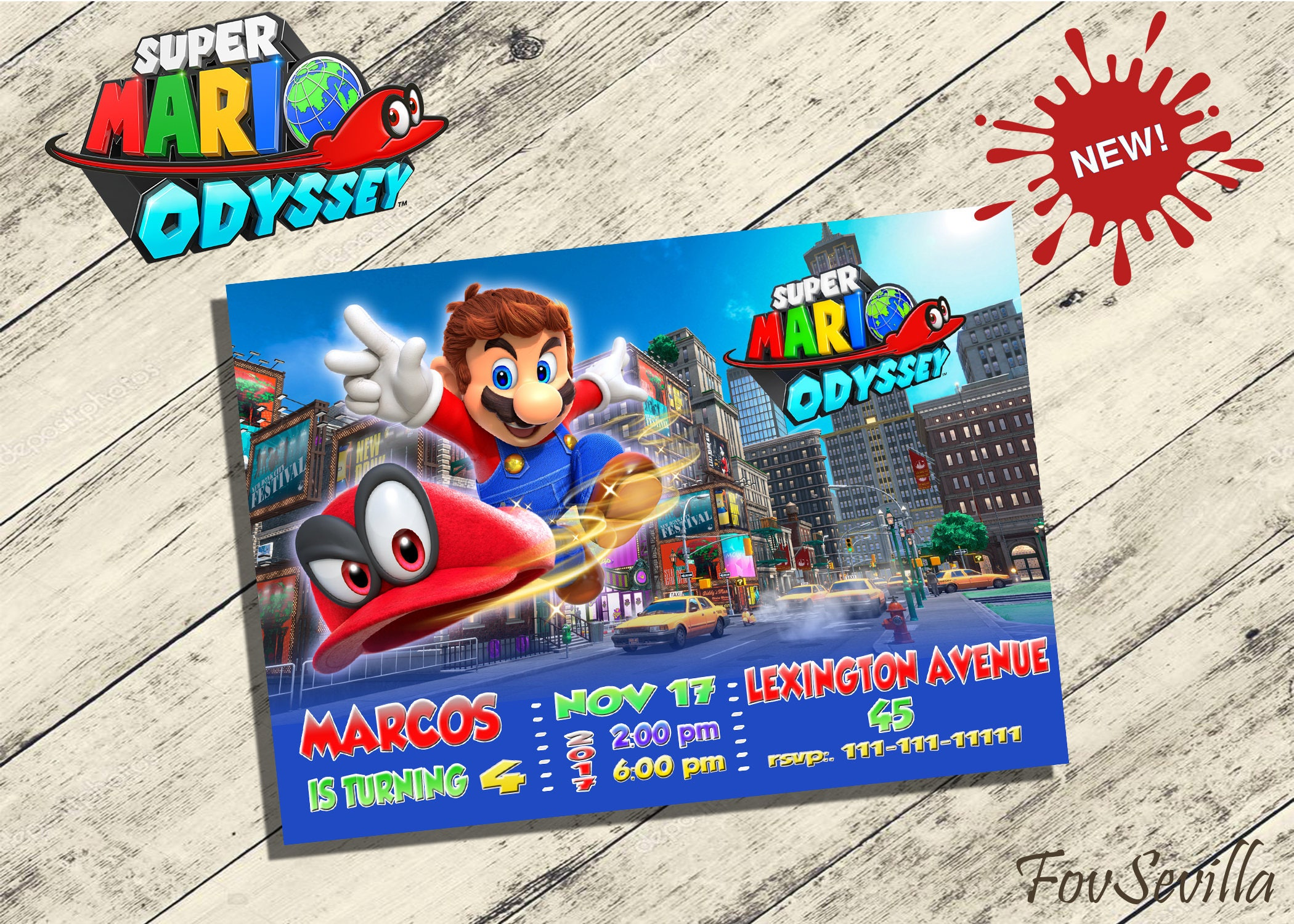Birthday INVITATION on SALE Inspired by MARIO odyssey mario | Etsy