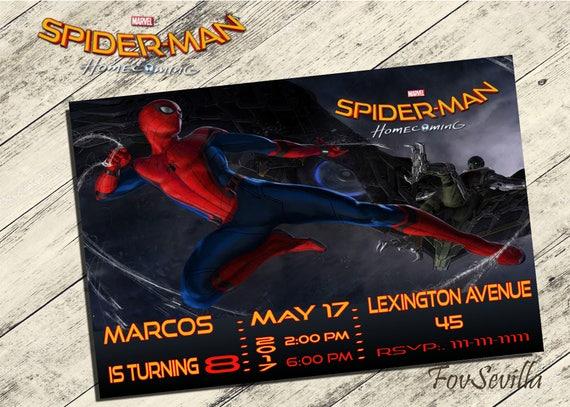 Spiderman Homecoming Invitationspiderman