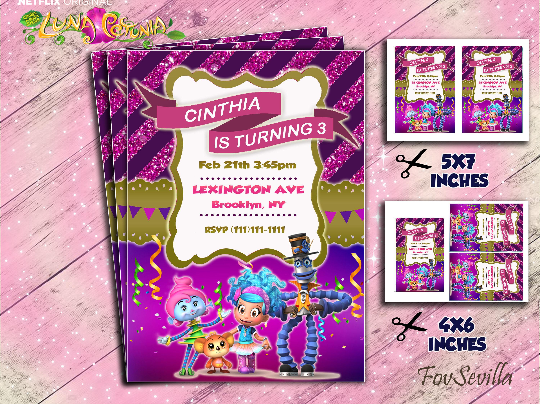INVITACIÓN de cumpleaños inspirada en LUNA PETUNIA fiesta de