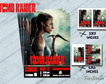 Tomb Raider, Tomb Raider Invtation,Tomb Raider Birthday Invitation,Tomb Raider Party,Tomb Raider Birthday,Tomb Raider Birthday Party, Tomb