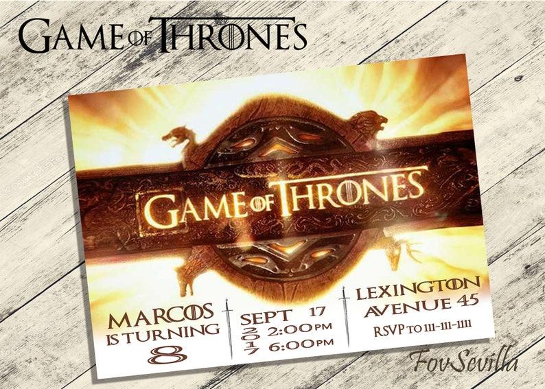 Game Of Thrones Invitationgame Of Thrones Birthday Etsy