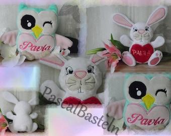 Stuffed animal with names.