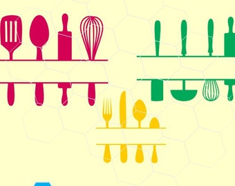 Kitchen Utensils in svg, dxf, png,format. Instant download for Cricut Design Space and Silhouette Studio
