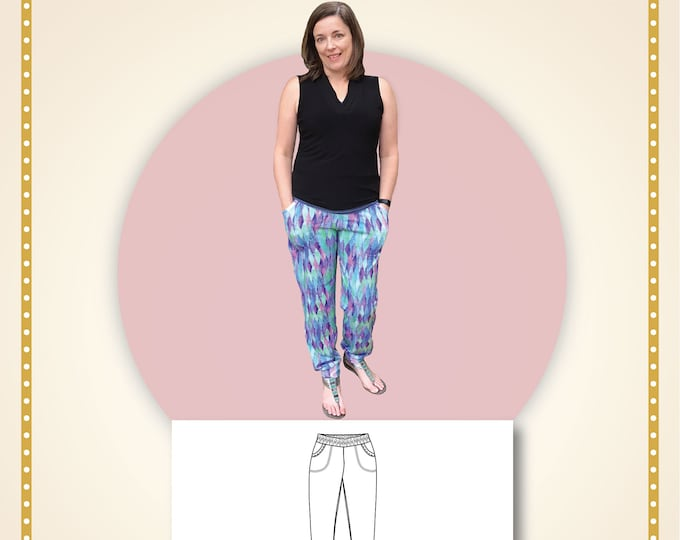 Rock rose pants woman Paper printed pattern
