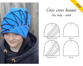 Criss cross beanie PDF sewing pattern, instant download, tutorial