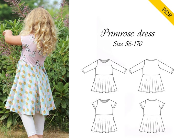 Primrose dress 56-170 PDF sewing pattern, Instant download, Tutorial, twirl dress