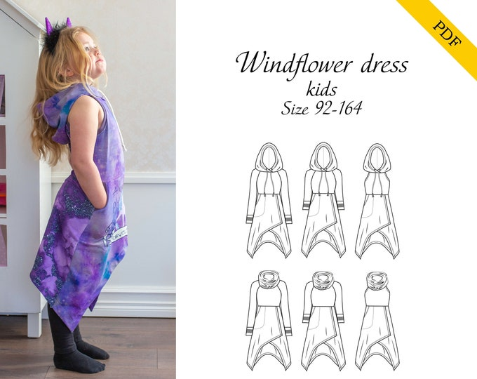 Kids Windflower dress PDF sewing pattern, instant download