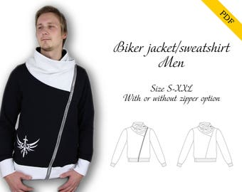 Biker jacket/sweatshirt Men PDF sewing pattern, instant download, tutorial