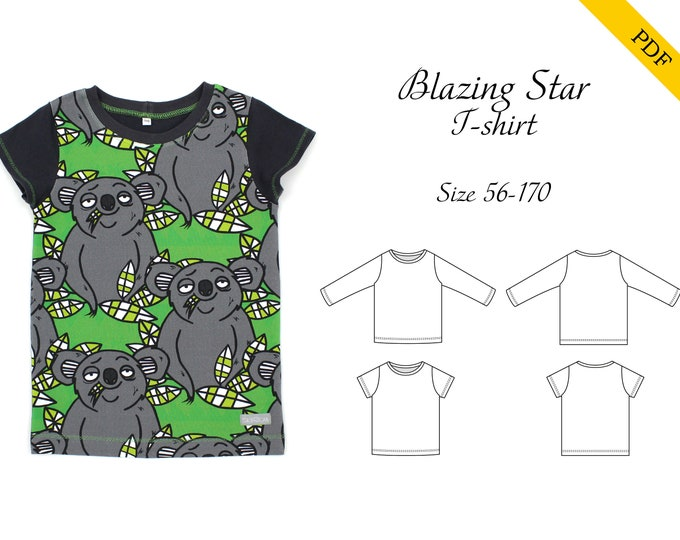 Blazing Star T-shirt PDF sewing pattern, instant download, tutorial