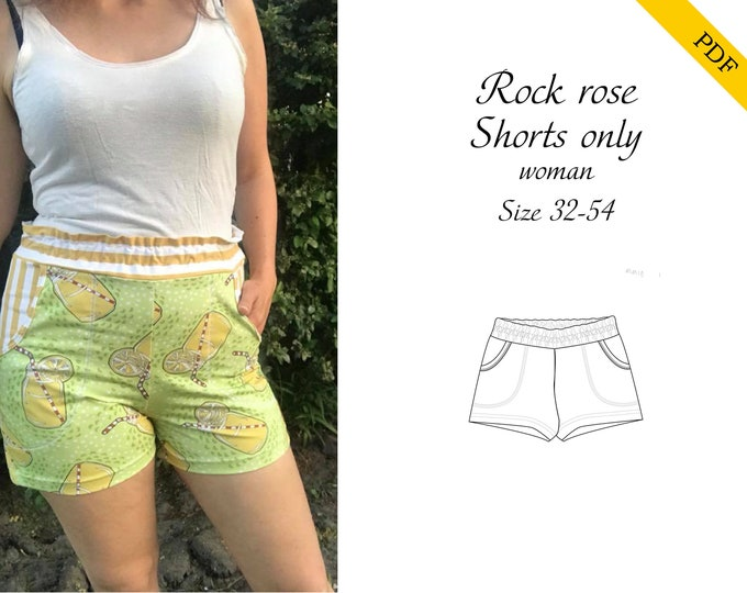 Rock rose shorts woman PDF sewing pattern, instant download, tutorial