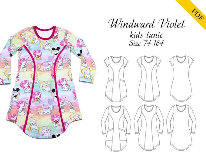 Windward Violet kids tunic PDF pattern size 74-164, instant download