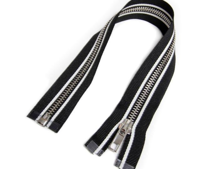 Zipper open end for Biker jackets black/white