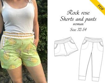 Rock rose pants and shorts woman PDF sewing pattern, instant download, tutorial