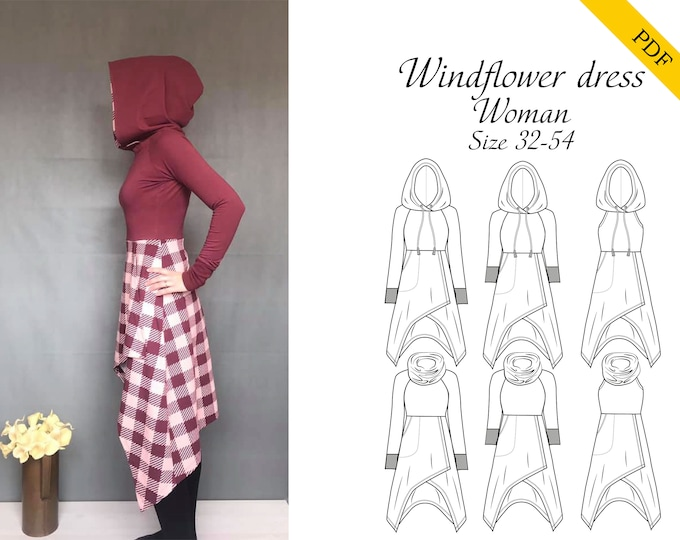 Windflower dress Size 32-54 PDF sewing pattern, Instant download, Tutorial