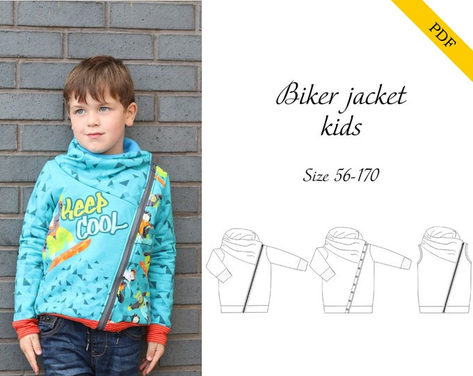 Biker jacket PDF sewing pattern, instant download, tutorial
