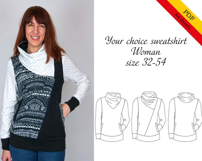 Your choice sweatshirt woman A4 SHEETS PDF sewing pattern, instant download, tutorial