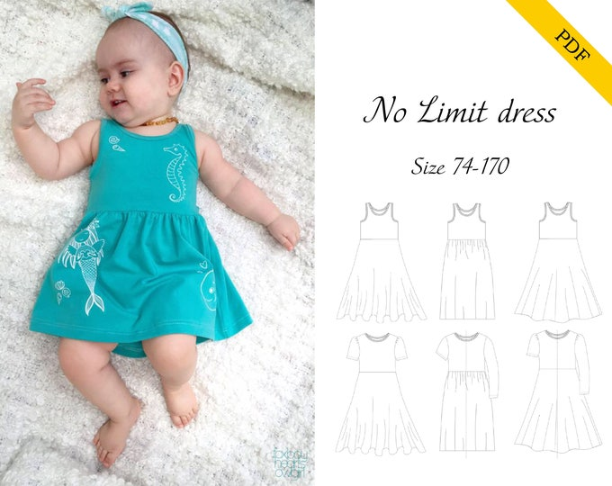 No Limit Dress 74-170 PDF sewing pattern, instant download, tutorial
