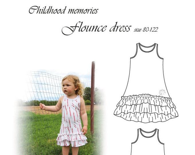 Flounce dress Printed pattern