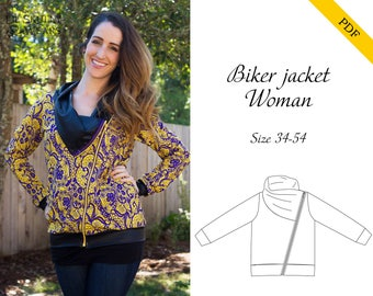 Biker jacket women 34-54 PDF sewing pattern, instant download, tutorial