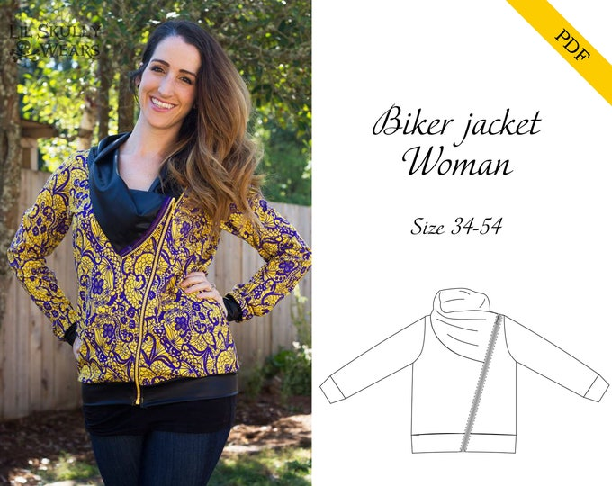 Biker jacket women 34-54 PDF sewing pattern, instant download, tutorial