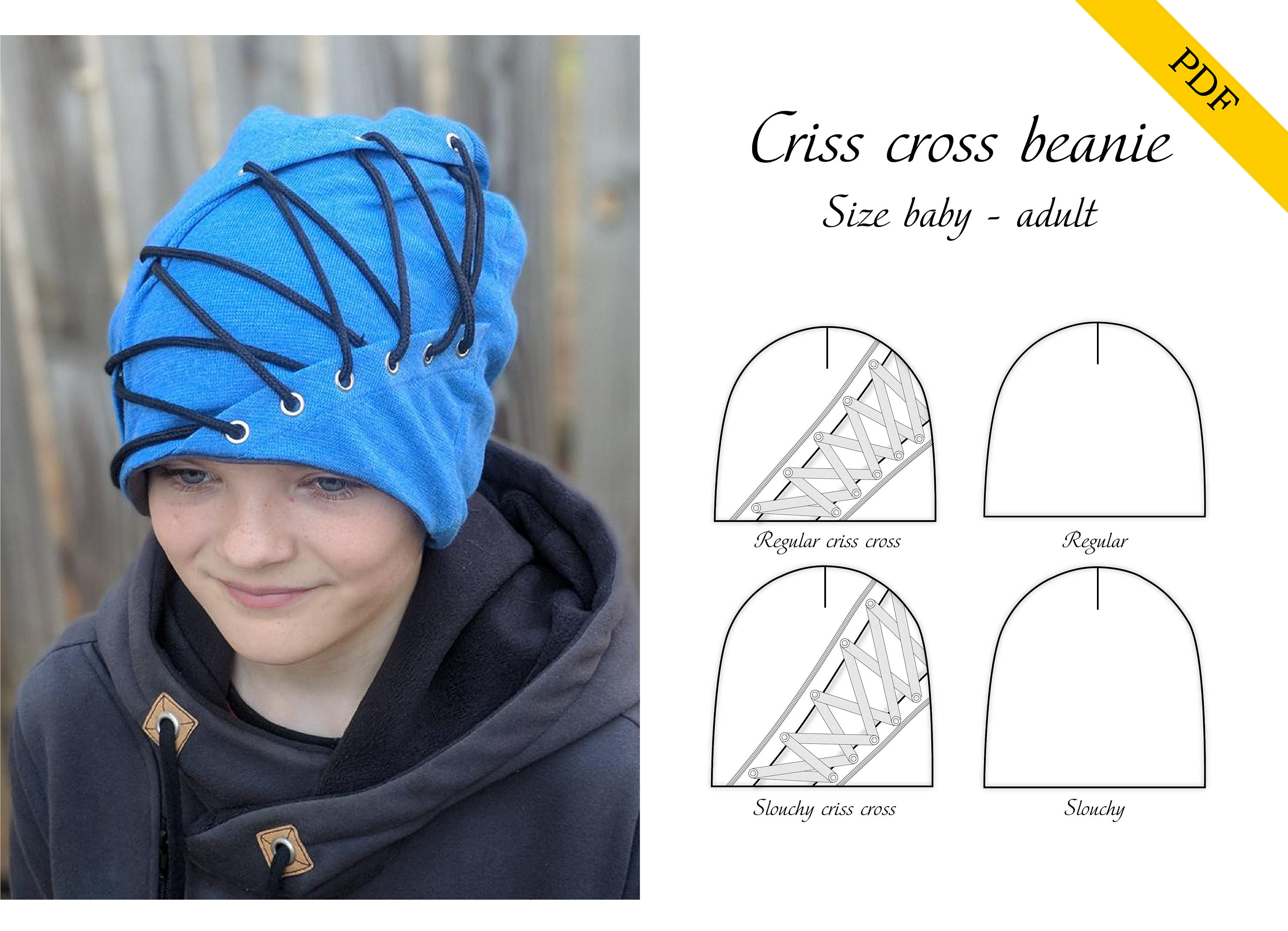 c439c29ed Criss cross beanie PDF sewing pattern, instant download, tutorial