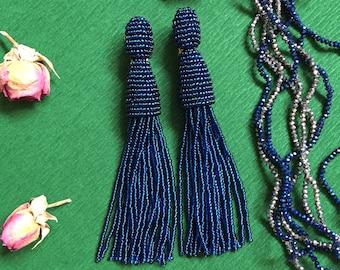 Blue tassel earrings Oscar de la Renta earrings Prom tassel earrings Boho earrings Bohemian earrings Beaded tassel earrings Fringe earrings