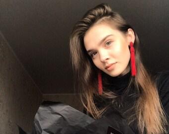 Red tassel earrings Beaded tassel earrings Boho earrings Fringe earrings Bridesmaid earrings Bohemian earrings Red statement earrings