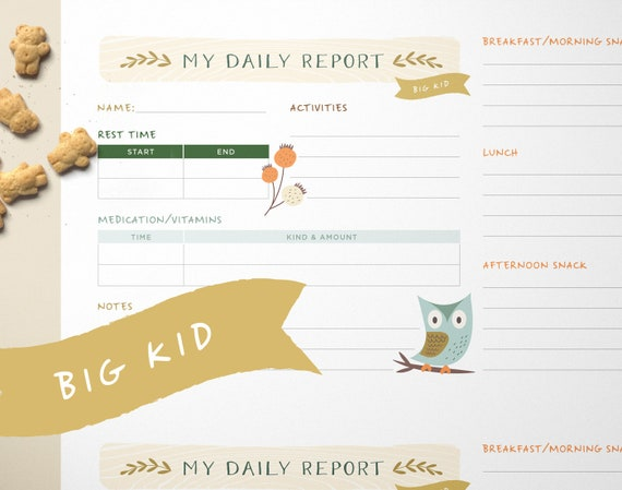big kid daily log daycare nanny babysitter or child care etsy