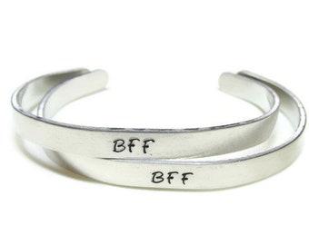 BFF Bracelets; Set of Best Friends Forever Bracelets; Hand Stamped BFF Cuff Bracelets; BFF gift; Hand Stamped Best Friends Forever Bracelets