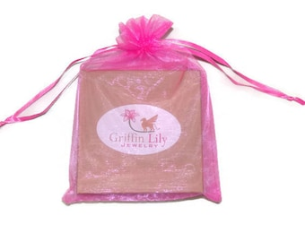 Griffin Lily Jewelry Add On ONLY- Bright Pink Organza Bag