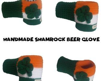 Shamrock Glove for Drinks - Irish Beer Hugger - Crocheted Clover Beer Glove - Beer Mitten - St Patricks Mitten - With or Without Shamrock