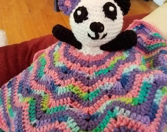 Soft Crochet Panda Bear Lovey, Pink Plush Panda Bear, Stuffed Elephant Lovey, Crochet Elephant blanket, Newborn Gift, Baby Gift,