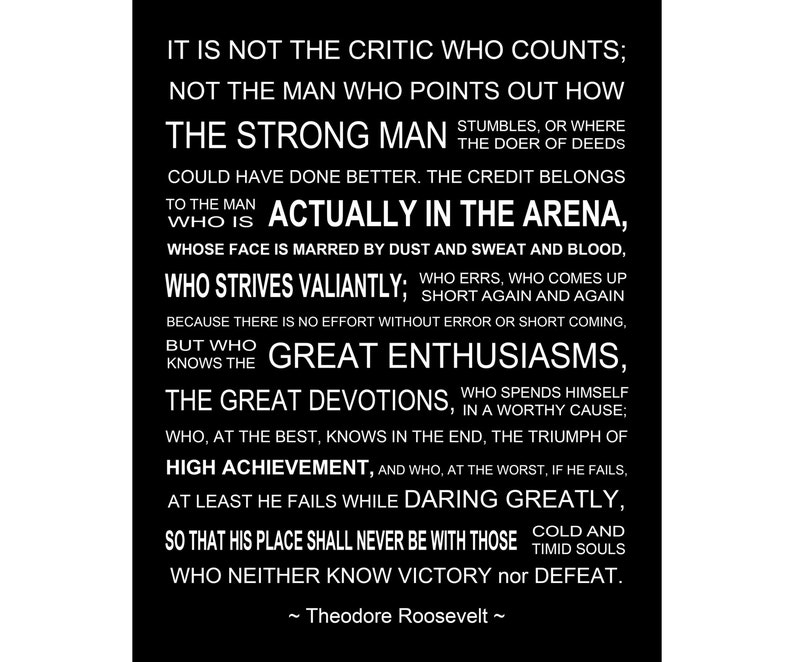 image relating to The Man in the Arena Printable referred to as The Gentleman Inside The Arena - Theodore Roosevelt Speech - Printable Artwork - Prompt Obtain