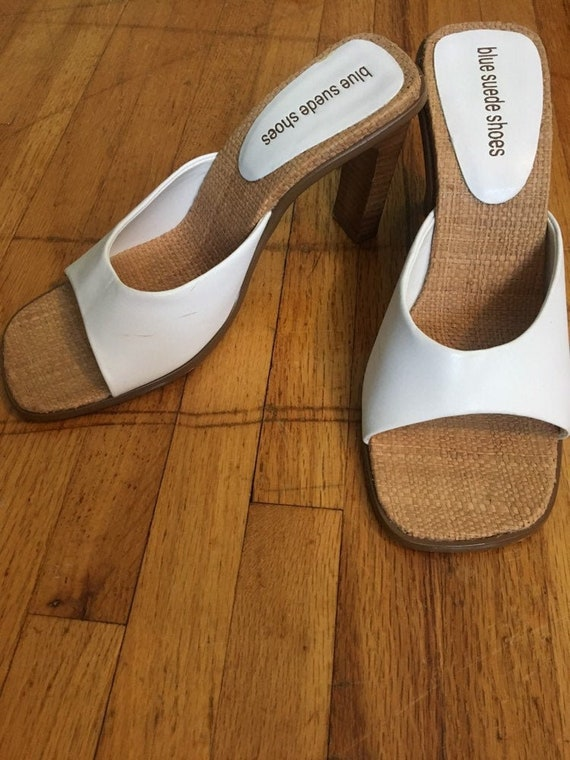Vintage 90s white square toe heels