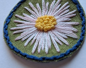 Flower Iron-On Patch (3 Options Available): Sunflower, Fleabane Daisy, or Poinsettia Floral Patch