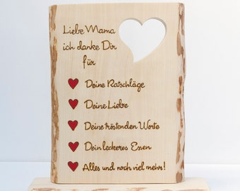 Wooden sign for Mother's Day, Father's Day, Valentine's Day or other occasions