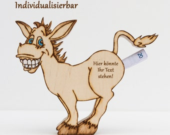 Money donkey, gold donkey made of wood as a gift of money for birthdays, Christmas and other occasions