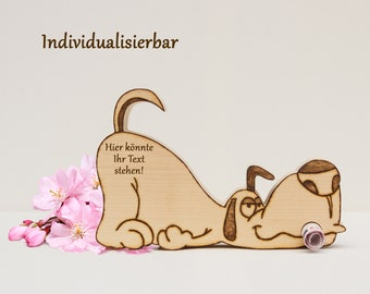 Dog made of wood as a gift of money for birthday, Easter, Christmas and other occasions
