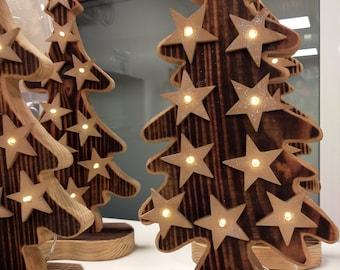 Fir trees made of wood with lighting, lovingly handmade