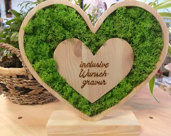 Wooden heart with preserved island moss, optional with infinity rose for Mother's Day, wedding, Valentine's Day and other occasions