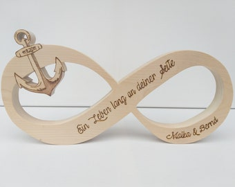 Infinity sign with anchor as table decoration for weddings, for engagement or as a wedding gift