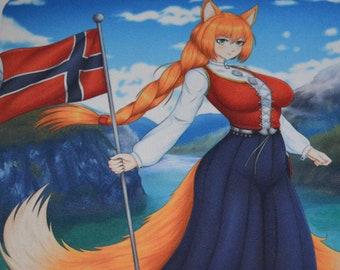 Cute Kitsune Foxgirl Bunad Mousepad